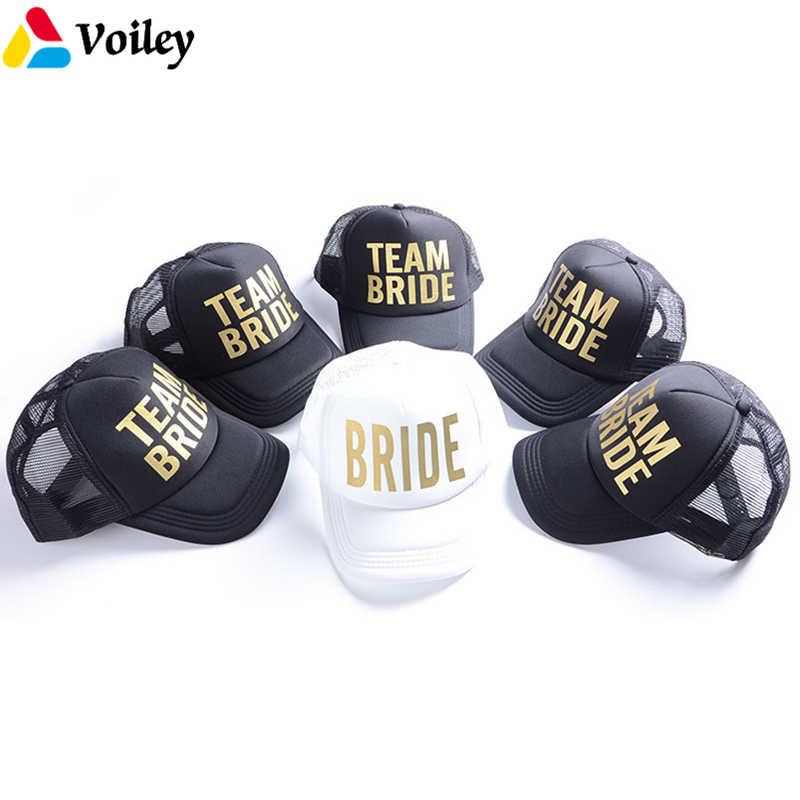 be57c56a395 Gold Print BRIDE TRIBE   SQUAD Mesh Baseball Cap Women Wedding Party Hat  Brand Bachelor Club
