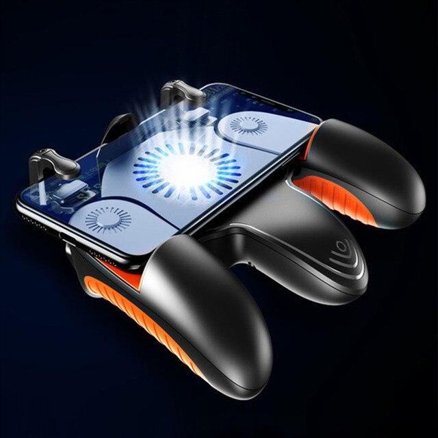 PUBG المحمول جهاز التحكم في عصا التحكم برودة غمبد الحرة النار L1R1 مع مروحة التبريد للهاتف المحمول أذرع التحكم في ألعاب الفيديو المقود أزرار