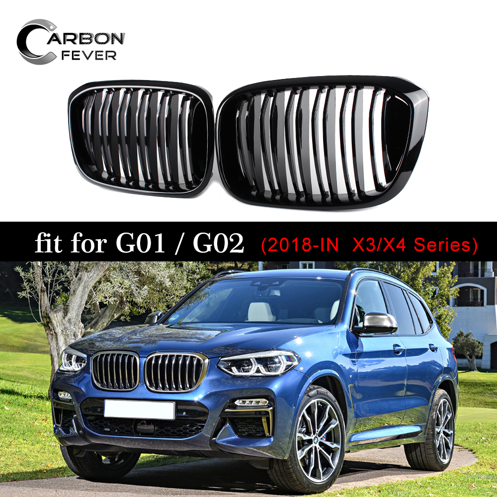 Dual Slats Front Kidney Grill For BMW X3 G01 X4 G02 ABS Gloss Black Racing Grills xDrive20i xDrive30i 2018+Dual Slats Front Kidney Grill For BMW X3 G01 X4 G02 ABS Gloss Black Racing Grills xDrive20i xDrive30i 2018+