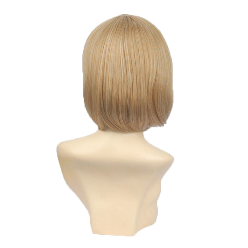 BCHR Natural Looking Women Short Straight Synthetic Wig Heat Resistant Blonde Highlights Silky Straight Wigs