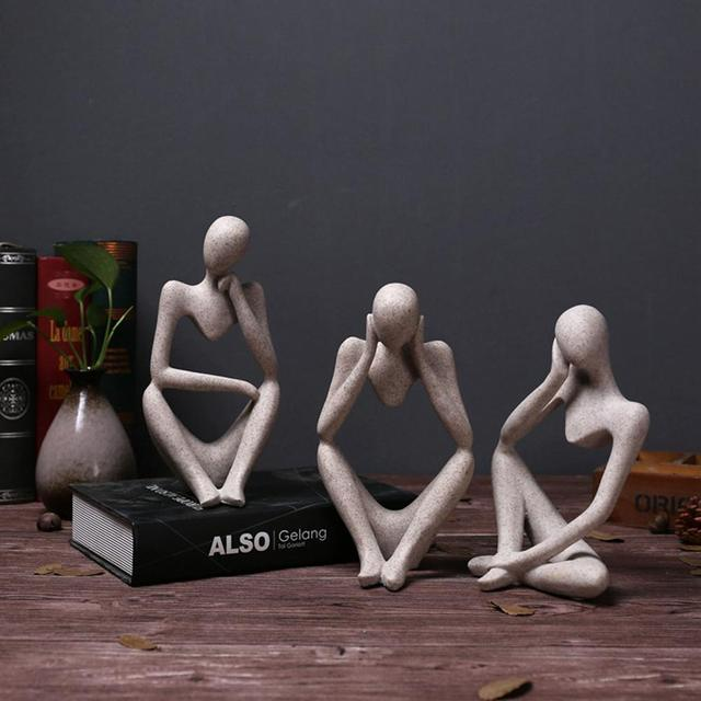 Modern European Style Resin Abstract Thinker Statue for Decoration Simple Sculpture Figurine Hotel Office Home Decor New 1