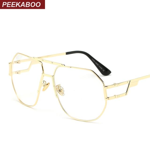 b7a60249d بيكابو إطار معدني ذهبي النظارات النساء العلامة التجارية المتضخم إطار نظارات  للرجال عالية الجودة 2017 واضح