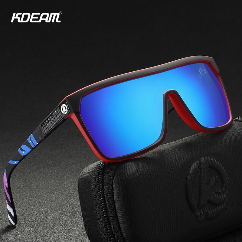 KDEAM One-piece Shape Men Sunglasses Polarized Elastic Paint Surface Sun Glasses Women Suitable Long-lasting Goggles Cat.3