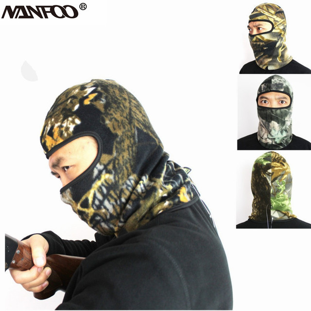 fb64a295d08a9 Quality Fleece Warm Outdoor Winter Hunting Hat Cap Full Face Mask Ski  Bicycle Riding Mask Woodland Camo 8 Colors