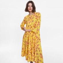 c1e2d5a223e8b Long Yellow Floral Dress Promotion-Shop for Promotional Long Yellow ...