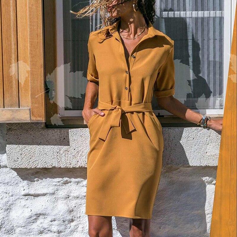 YCDXUR 2018 otoño moda cuello en V vestido de encaje abotonado Casual mujeres vestido de Color sólido bolsillo Mini vestido de manga larga