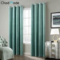 ChadMade Solid Matt Heavy Velvet Curtain Drape Panel Super Soft Nickel Grommet Curtain For Living Room