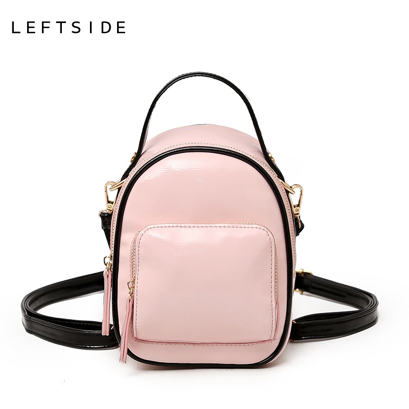 899055d5fe LEFTSIDE 2018 Candy Color Women Small Backpack High Quality Patent leather  Mini Backpacks Cute Shoulder School Bags For Teenage