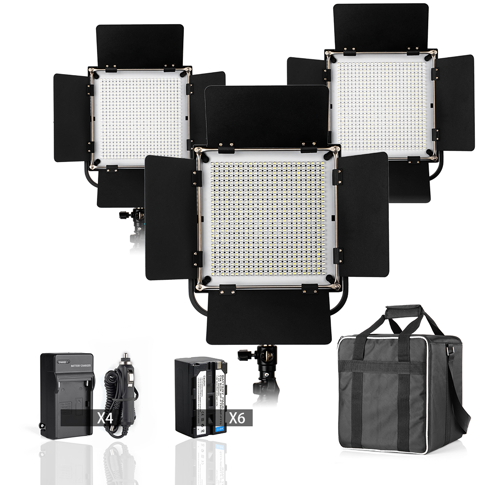 High CRI 90+ Led Video Studio Light w Filters + Customized Carry Bag for 3 Lights + Battery Charger + Battery Packs ashanks 3kits 800w dimmer switch studio video red head light kit bulb carry bag for video film light