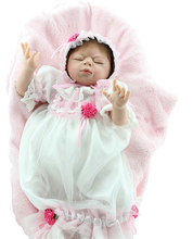 22 inch Lifelike Newborn Baby Sleeping Reborn Girl Doll Toys with Princess Lace Dress