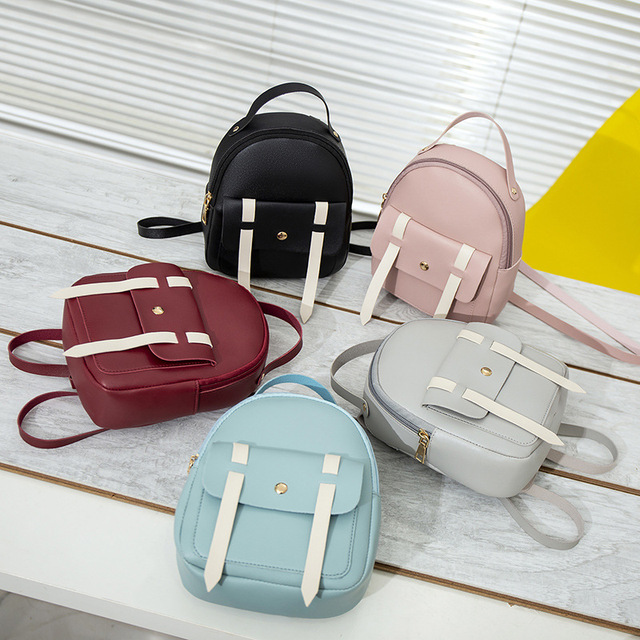Women Mini Backpack Shoulder Bag Brand Fashion Hand bags 2019 Children Back Pack Solid Versatile for Teenage Little Girls kids