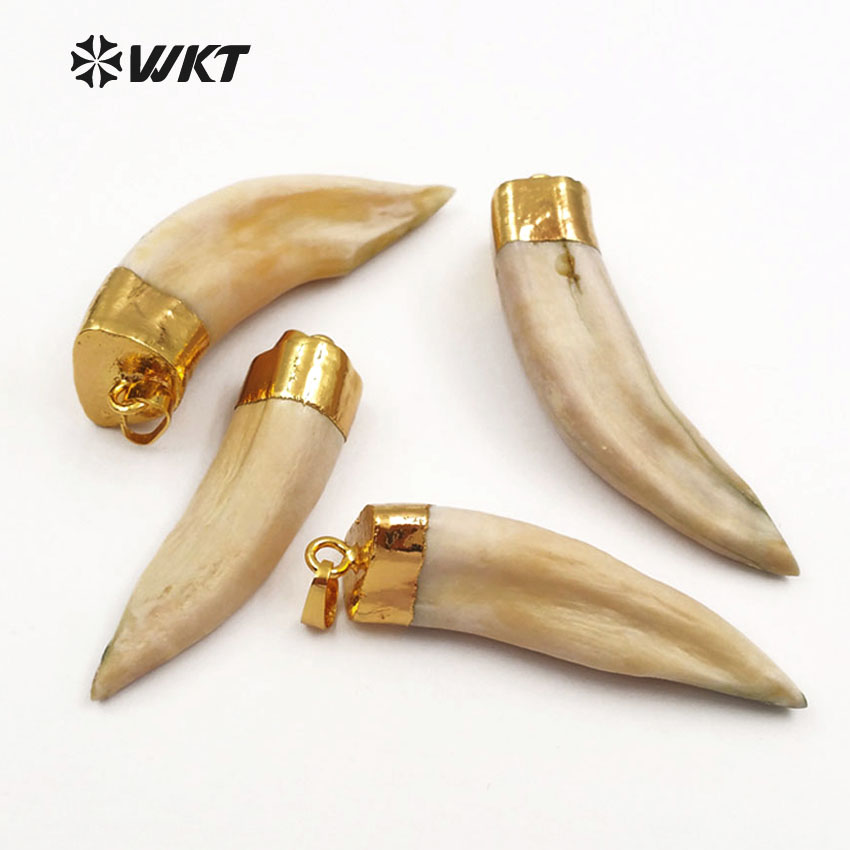WT P241 WKT Wholesale original wolf tooth pendants with gold color cap amazing raw wolf teeth