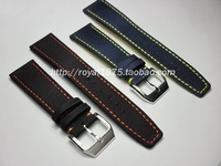 Composite fiber+Genuine Leather Buckle Strap Watch Band Charm Black blue Men Women Watch Strap 20 21 22mm for branded watchbands