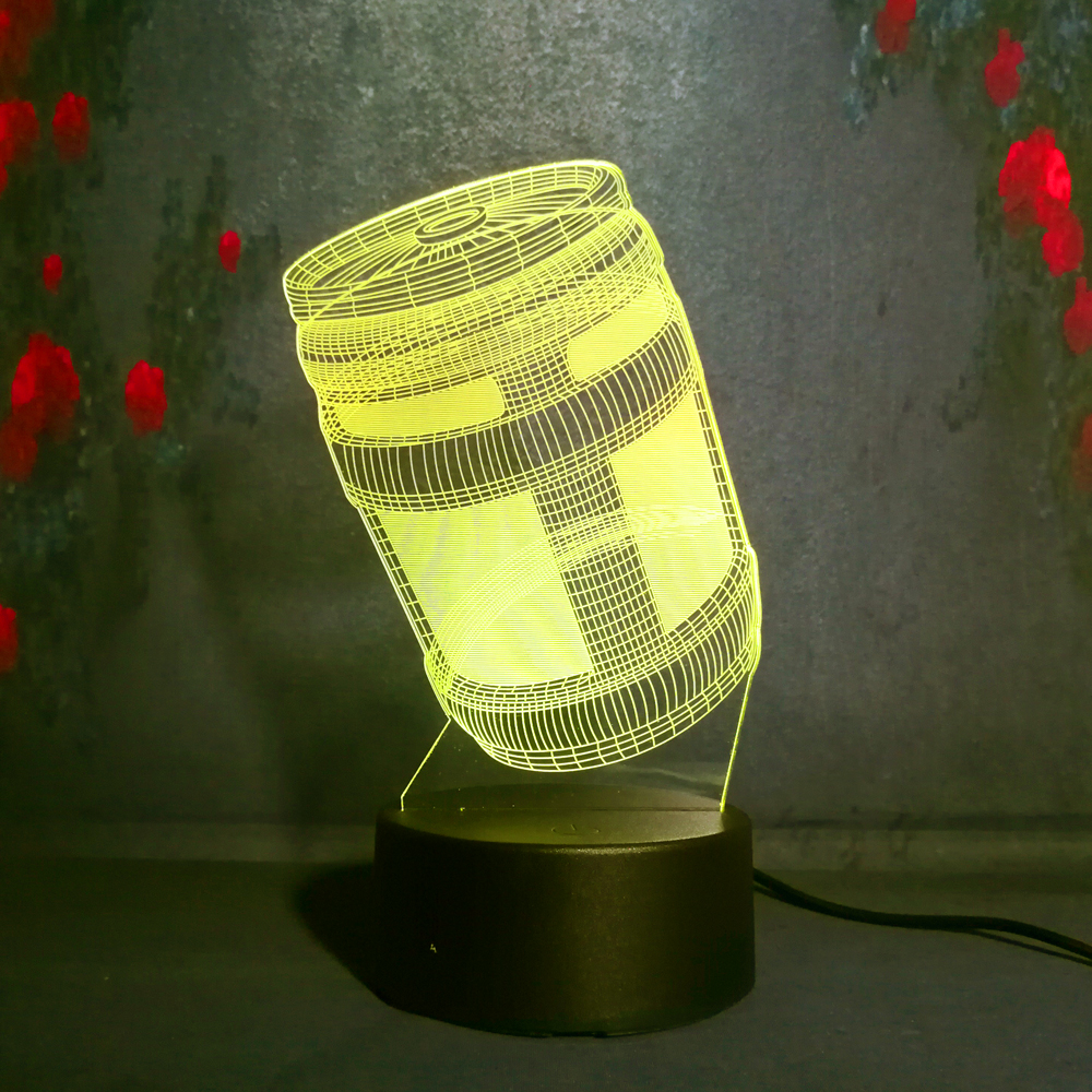 Free Shipping 3D Night Light Lustre Battle Royale Game PUBG TPS Chug Jug 7 Color Xmas Birthday Gift Toy Child Night Light Decor plastic toy funny game pinart 3d clone shape pin art shoumo variety colorful needle child get face palm model 1pc free shipping