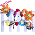 Happy Cherry Infant Plush Cartoon Sunflower Crib Round the Bed Stroller Toy with Music Hanging Rattles Mobile for Baby Playing