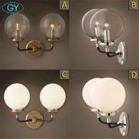 Loft Industrial led Wall Lamps Vintage Bedside LED Wall Light Clear frost Glass Lampshade E27 110V/220V lustre miroir mural