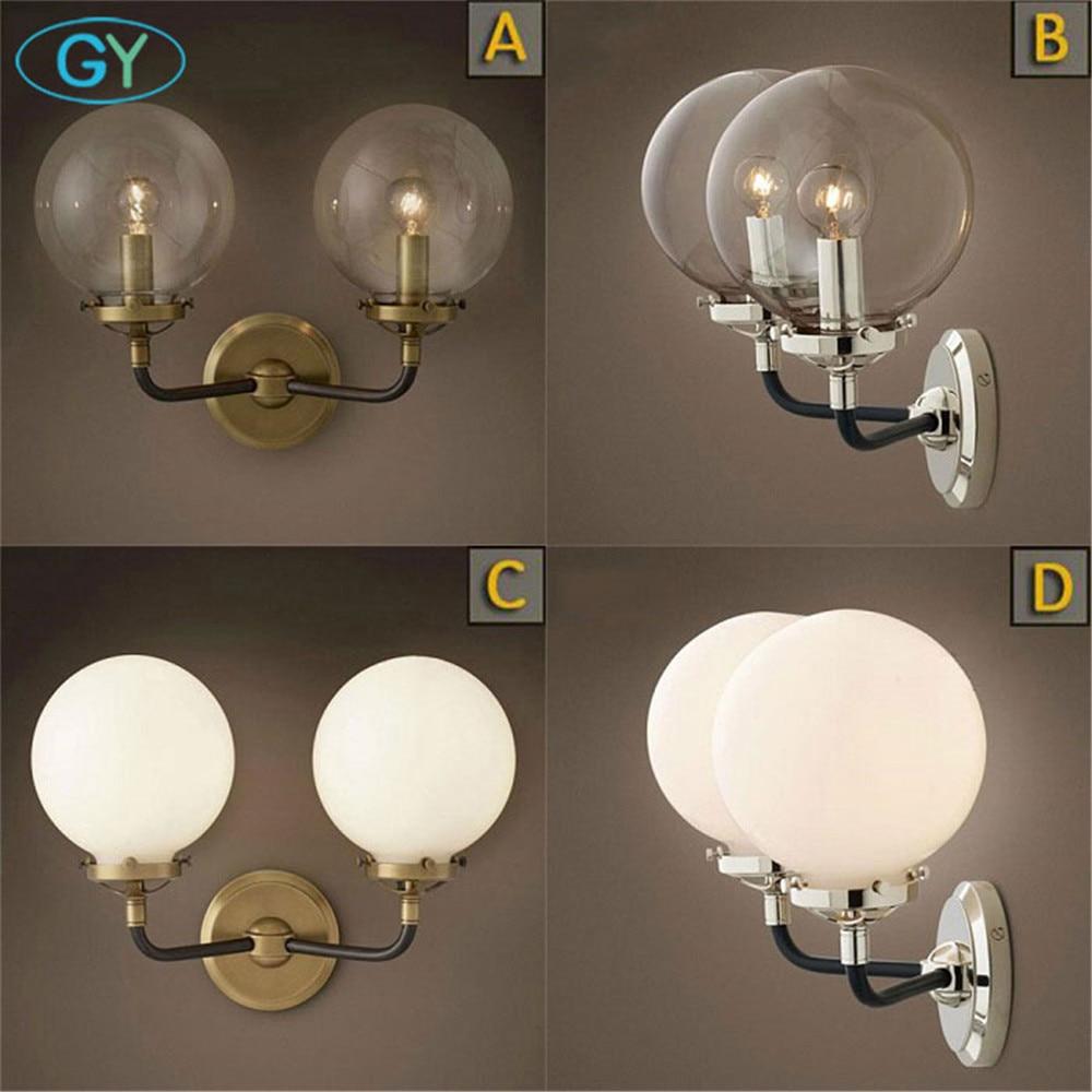 Loft Průmyslové vedené nástěnné lampy Vintage noční lampičky LED nástěnné čiré mrázové skleněné stínítko E27 110V / 220V lesk nástěnná malba