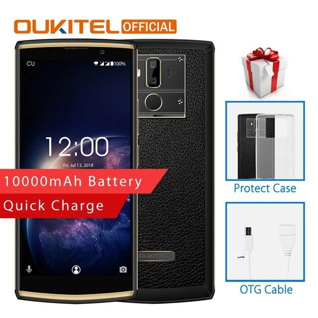"OUKITEL K7 de 2G RAM 16G ROM teléfono móvil Android 8,1 MT6750T Octa Core 6,0 ""HD + 13.0MP + 2.0MP 10000 mAh huella dactilar teléfono inteligente"
