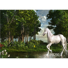LB Polyester Unicorn In The Forest Custom Background Photography Studio Props Photographic Seamless Washable No Crease(China)