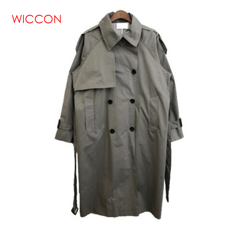 Spring Autumn 2019 Korean Fashion Double Breasted Mid-long   Trench   Coat Mujer Loose Belt Large Size Windbreak Outwear
