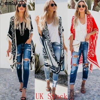 New Europe Style Women Chiffon Coat Vintage Floral Boho Jacket Cardigan Cover UP Beach Wear Lady Fashion Casual Kimono Shirt long batwing kimono