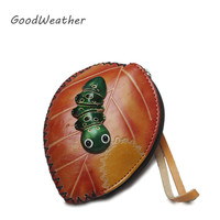 Cute Mini Handmade Genuine Leather Wallet Designer Wallets With Strap Kawaii Coin Purse Birthday Gift