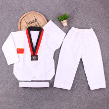 White long Sleeve Uniform Adult Taekwondo Karate Dobok Exquisite Embroidery Tkd Clothing Kids Kungfu Martial Arts Suit Size180 super deal japan kendo aikido iaido hakama gi martial arts uniform sportswear dobok sets coat and culottes free collocation