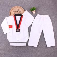White long Sleeve Uniform Adult Taekwondo Karate Dobok Exquisite Embroidery Tkd Clothing Kids Kungfu Martial Arts Suit Size180