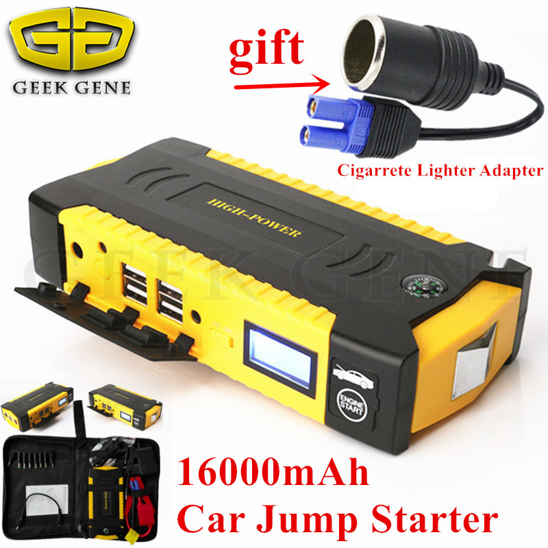 2018 Starting Device High Capacity 12V Diesel Petrol Car Jump Starter 600A Car Battery Charger 4USB Power Bank Compass Free Ship