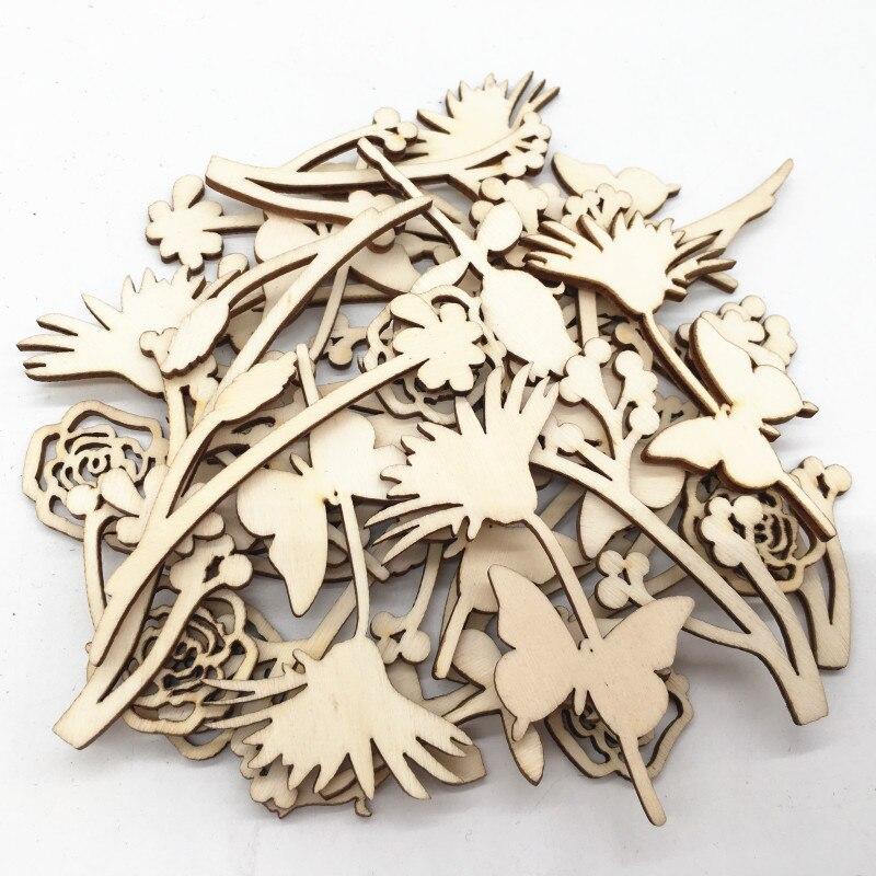 Natural Wooden Leaf Shape Embellishment Craft for Wedding Decoration DIY 30x