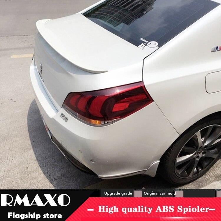 Alerón trasero de coche ABS de alta calidad para Peugeot 508, alerón 14-17 Peugeot 508 con imprimación de color, alerón trasero
