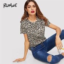 9854c1035c ROMWE Leopard Print Tee 2019 Swish Women Basic Clothing Short Sleeve Summer  Tops Posh Female Fashion O Neck Casual T-shirt