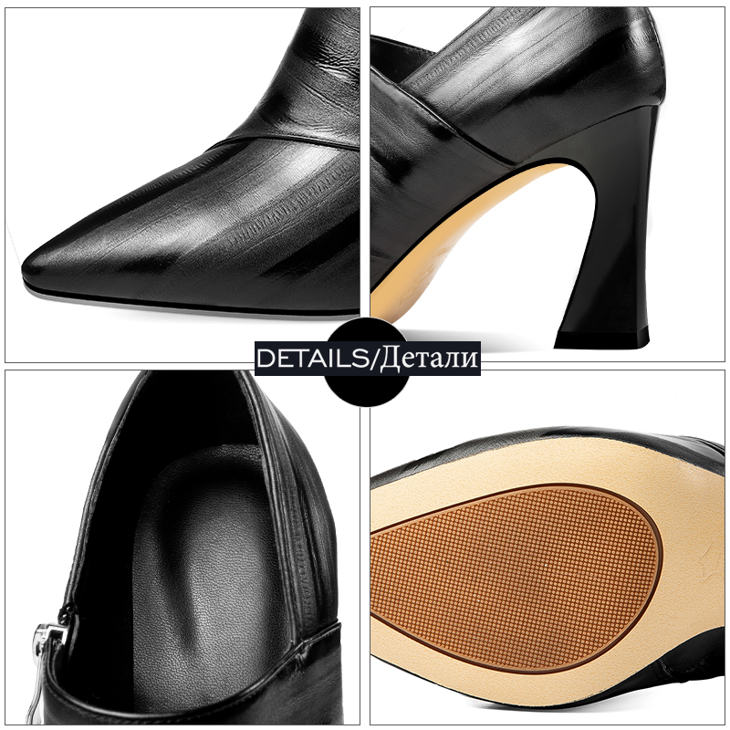 ISNOM Cow Leather Pumps Women Pointed Toe Footwear Fashion Zip Shoes Female High Heels Shoes Woman 2019 New Party Pumps Office