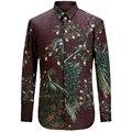 2017 Новый Павлин Печати Мужчины Рубашка Мода Повседневная Дизайнерский Бренд Camisa Masculina T0160
