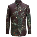 2017 Nueva Pavo Real Impresión de la Camisa de Los Hombres de Moda Casual Diseñador de la Marca Camisa Masculina T0160