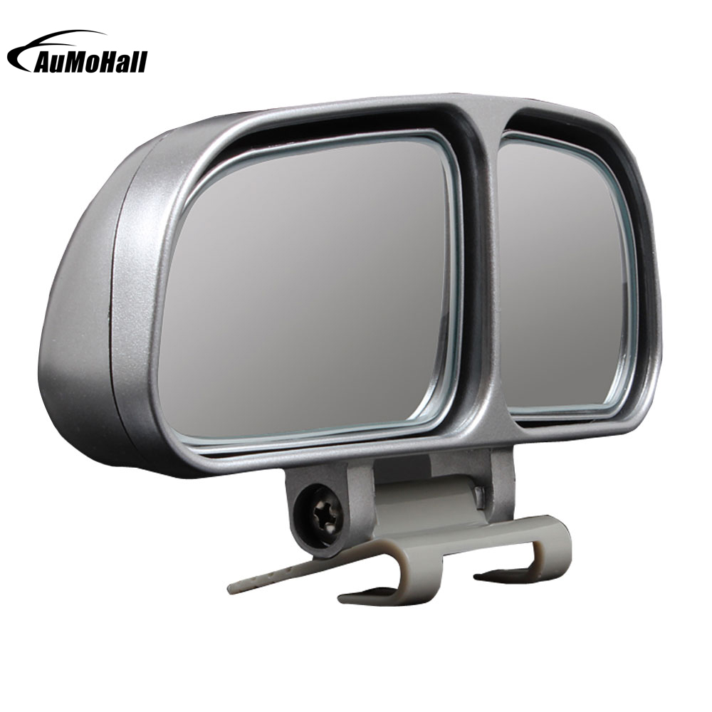1 წყვილი მანქანის სარკეები Auto Rearview სარკისებრი ფართო კუთხე უკანა ხედით დაათვალიერეთ უნივერსალური უსინათლო ადგილები კვადრატული სარკე 2 ფერისგან