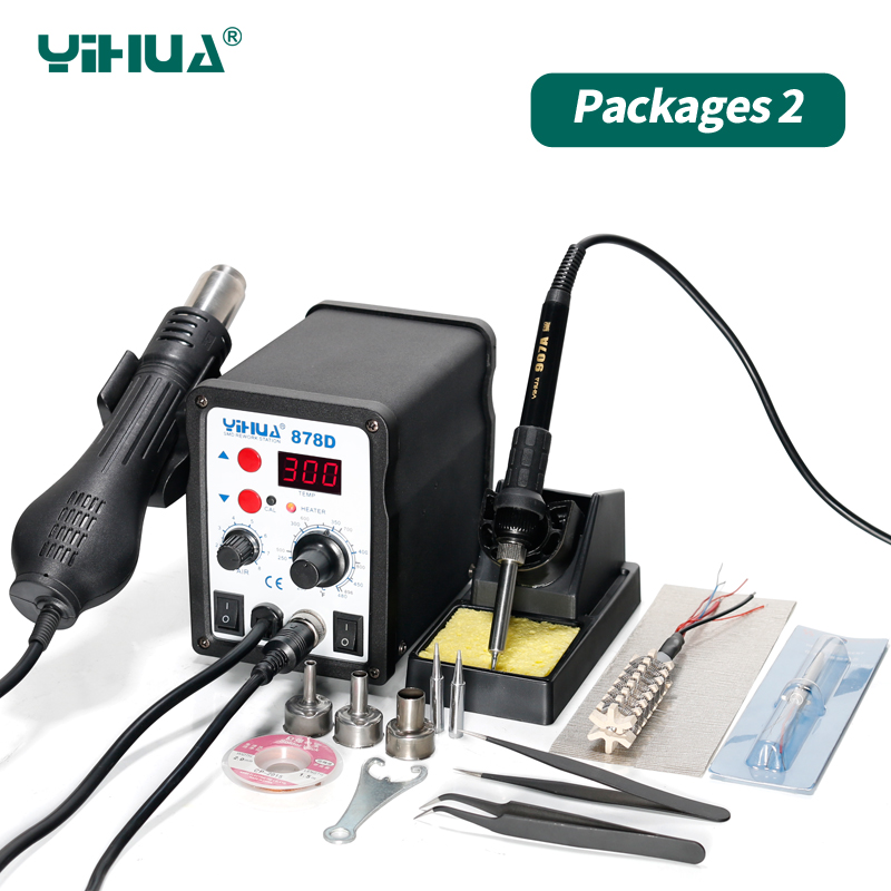 220V 110V Optional YIHUA 878D Hot Air Gun Soldering Station With 907A Soldering Iron Station 220v 50w yihua 937 soldering station with extra free hakko a1321 ceramic heater
