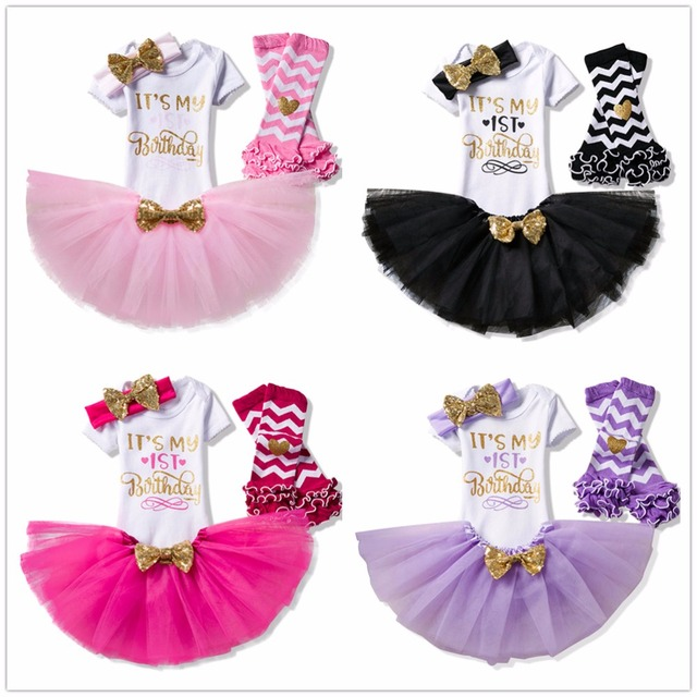 Toddler Baby Girl 1st 2nd Birthday Sets Infant Party Clothing Set Tutu Cake Smash Outfits Newborn Christening Suits 6M