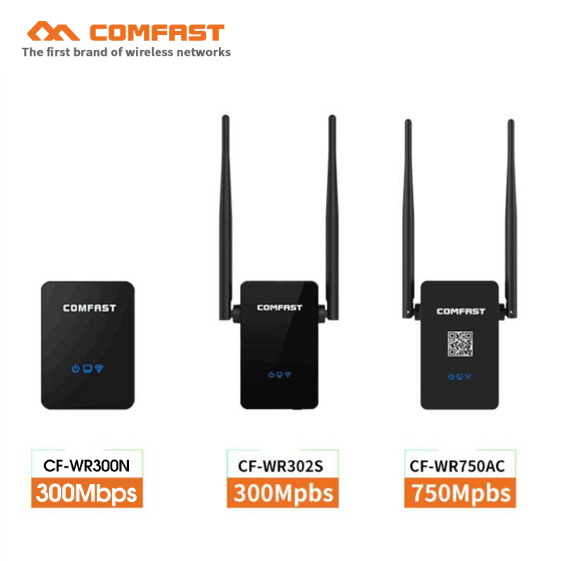 COMFAST Wifi Repeater 2.4G/5.8G Dual Band Extender Antenna 750Mbps  11AC Wifi Router Amplifier VS 300Mbps Wi-fi Booster Roteador