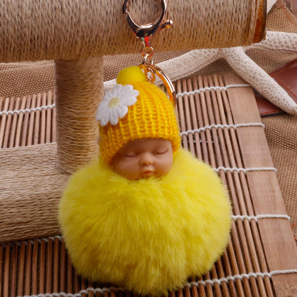 """Новый Спящий ребенок брелок поддельные Мех животных Pom ключ """"Помпон"""" цепи для женщин брелок ключи Подарочный Брелок пушистый на мешок"""
