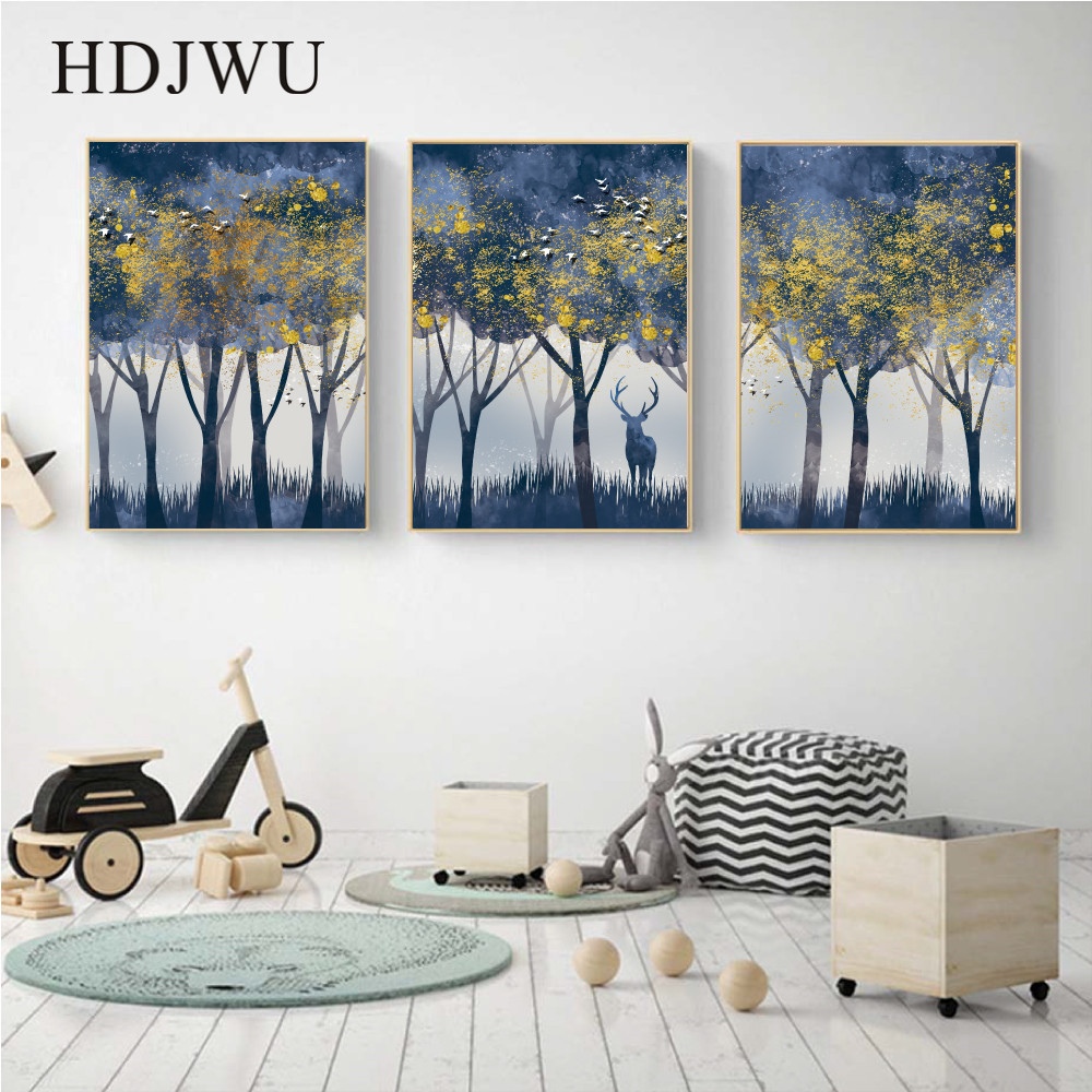 Modern Nordic Pink Warm Decorative Painting Forest Posters Wall Pictures for Living Room AJ00207