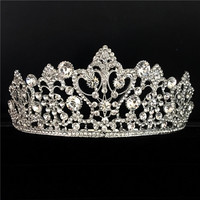 Silver Color Flower Bridal Crown Rhinestone Tiaras Women Wedding Diadem Hair Accessories