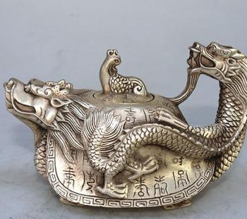 Rare Old Silver carving ornaments--longevity turtle pot,handmade crafts,best collection & adornment,free shipping
