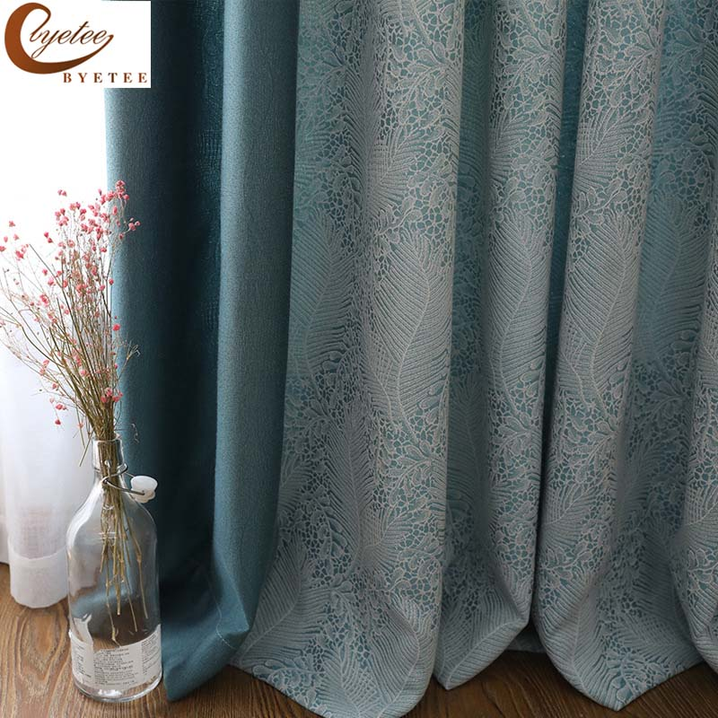 byetee Modern Jacquard curtains for Bedroom Living room Windows Balcony Doors Blackout Fabric Drapes