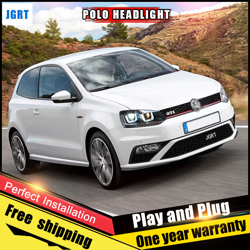 2PCS Car Style LED headlights for VW Polo 2013-2015 for VW Polo head lamp LED DRL Lens Double Beam H7 HID Xenon bi xenon lens 2pcs car style led headlights for vw polo 2011 2017 for vw polo head lamp lens double beam h7 hid xenon bi xenon lens
