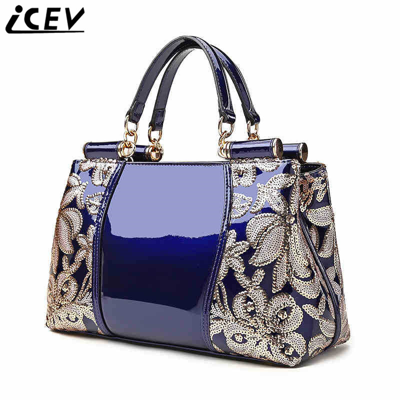 ICEV 2018 new famous brand luxury handbag designer women's handbags made of genuine patent leather lace embossed bag ladies sac icev luxury designer high quality patent split leather women s handbags famous brands lace embroidery messenger bag ladies tote