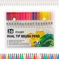 Художественные маркеры с двумя наконечниками 36  набор двойных цветных ручек с тонким вкладышем и чехол для переноски для раскрашивания для ...