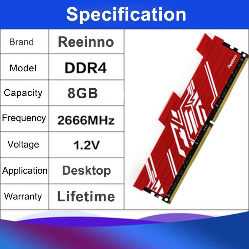 Image 3 - Reeinno RGB ram DDR4 8GB frequency 2666MHz 1.2V 288pin PC4 19200  CL=19 19 19 43 for PC game ram Lifetime Warranty Desktop memoryRAMs