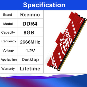 Image 3 - Reeinno RGB ram DDR4 8GB frequency 2666MHz 1.2V 288pin PC4 19200 CL=19 19 19 43 for PC game ram Lifetime Warranty Desktop memory