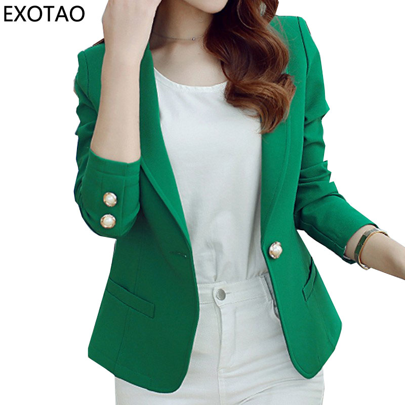 EXOTAO Dames Blazers Winter 2017 Nieuw Casacos Mujer Fashion Mini Jacks Dames Lange mouw Notched Jaqueta One Button Manteau